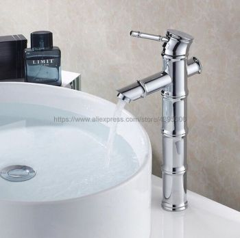 цена на Polished Chrome  Bathroom Basin Sink Faucet Bamboo Single Handle Single Hole Mixer Tap Deck Mounted Bnf047