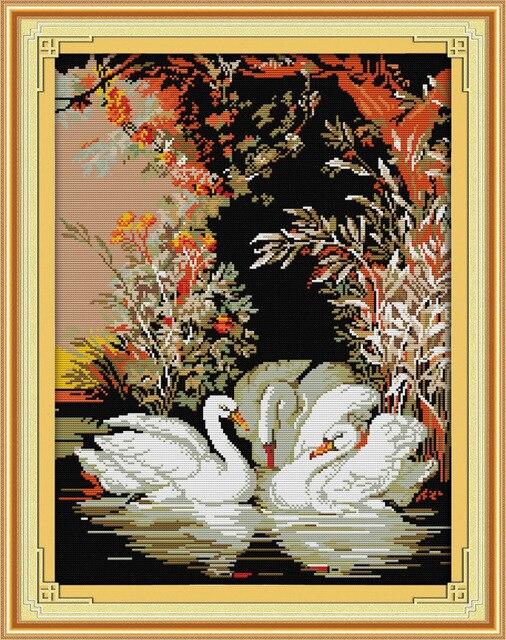 Красивые Лебеди в озере канва DMC Счетный крест Наборы печатное набор крестиком Вышивка рукоделие