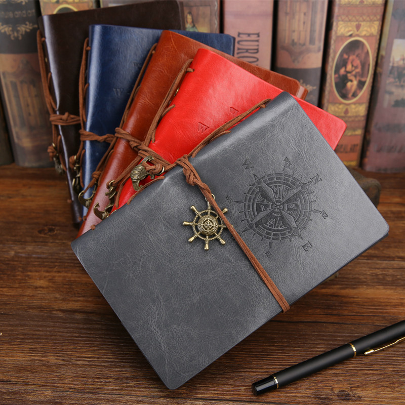 Spiral Notebook Diary Notepad Vintage Pirate Anchors PU Leather Note Book Replaceable Stationery Gift Traveler Journal vintage leather traveler s journal notebook spiral diary notepad pocket passport size soft copybook gift