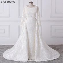 E JUE SHUNG Mermaid Wedding Dresses Long Sleeves