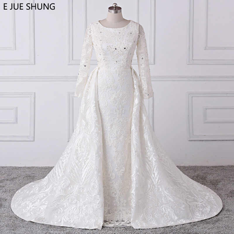 b0610d2ec38 Detail Feedback Questions about E JUE SHUNG Ivory Luxury Lace Mermaid Wedding  Dresses Detachable Train Long Sleeves Bridal Dresses Muslim Wedding Gowns  on ...