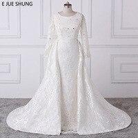 E JUE SHUNG Ivory Luxury Lace Mermaid Wedding Dresses Detachable Train Long Sleeves Bridal Dresses Muslim Wedding Gowns