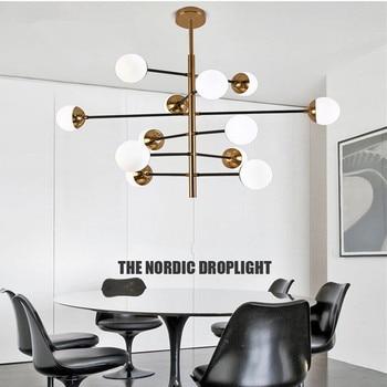 Nordic Glas Bal Led Loft LED Kroonluchter Designer woonkamer eetkamer Hotel Hal Led Opknoping Verlichting Armaturen Gratis Verzending