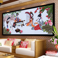 DIY Ribbons Embroidery Classic Portrait Decorative Painting Needlework Crafts Cross Stitch Kit Wall Art Living Room Decor C 0304