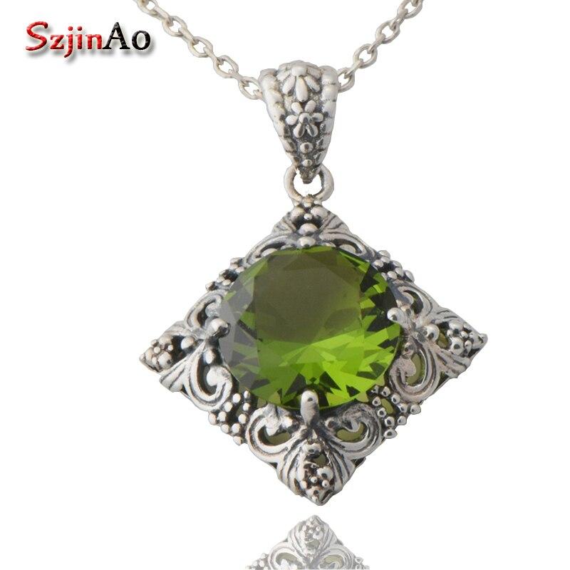 все цены на Free shipping custom retro joker 925 sterling silver peridot necklace pendant female south Korean jewelry онлайн