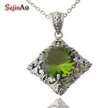 Free shipping custom retro joker 925 sterling silver peridot necklace pendant female south Korean jewelry