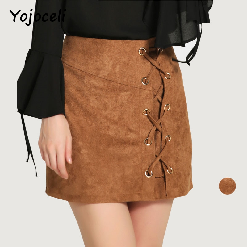 ec975cfa6c37 Yojoceli Suede lace up fitness short skirts womens Autumn winter bodycon  sexy high waist skirt Brown new chic pencil skirts