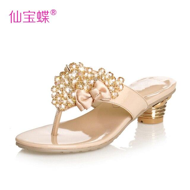 2013 female sandals sweet beaded rhinestone shoes thick heel flip-flop slippers flip flops