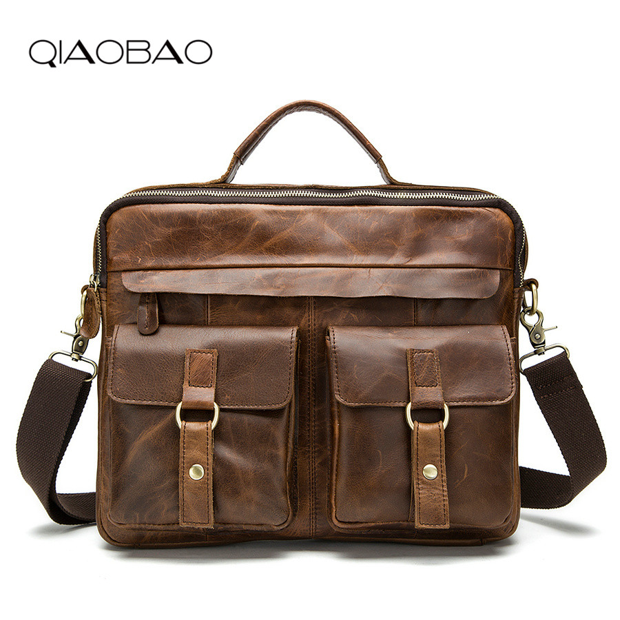 QIAOBAO 100% Cowhide male commercial briefcase /Real Leather vintage men's messenger bag/casual Natural Cowskin Business Bag цена
