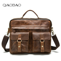 QIAOBAO 100 Cowhide Male Commercial Briefcase Real Leather Vintage Men S Messenger Bag Casual Natural Cowskin