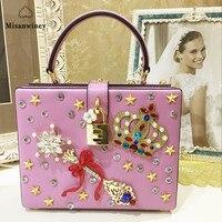 Роскошный Кристалл партия клатч вечерняя сумочка; BS010 Magic Box Мини чемодан замок ретро дизайн одежды клапаном женщин сумка черная сумка на пле