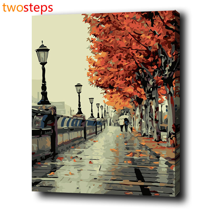 TwoSteps Autumn Street Diy Digital Canvas Oil Painting By Numbers Coloring By Numbers Modern Large Acrylic Paint By Number Kits