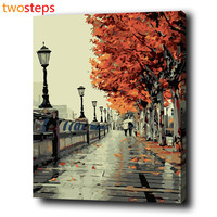 Autumn Street Diy Digital Canvas Oil Painting By Numbers Pictures Coloring By Numbers Modern Large Acrylic