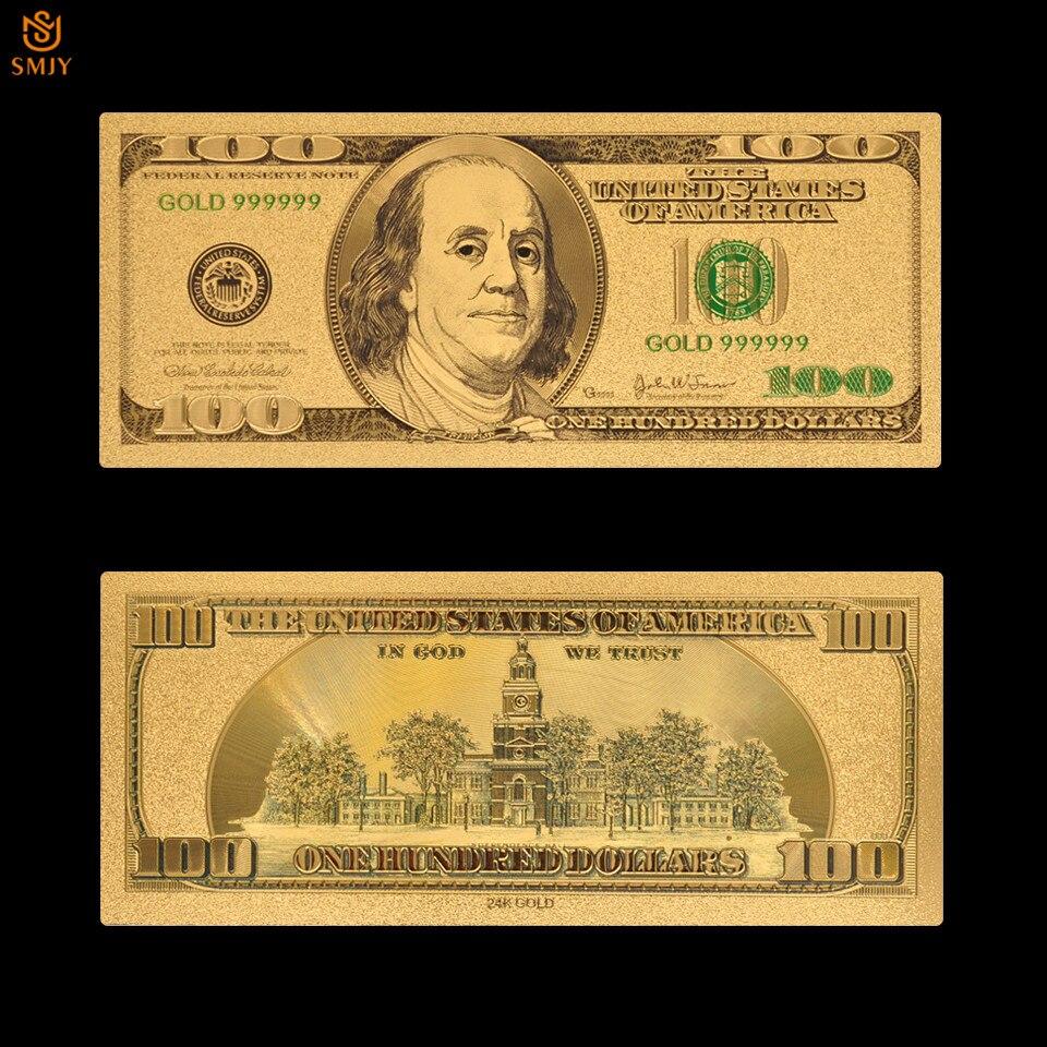 Nowy produkt US waluta papier 100 dolar pieniądze złoto 999 pozłacane fałszywe banknoty do kolekcjonowania i prezenty pamiątkowe