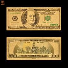 Nuevo producto nos papel moneda 100 dólares de oro de dinero 999 chapado en oro billetes falsos para coleccionismo y regalos de recuerdo