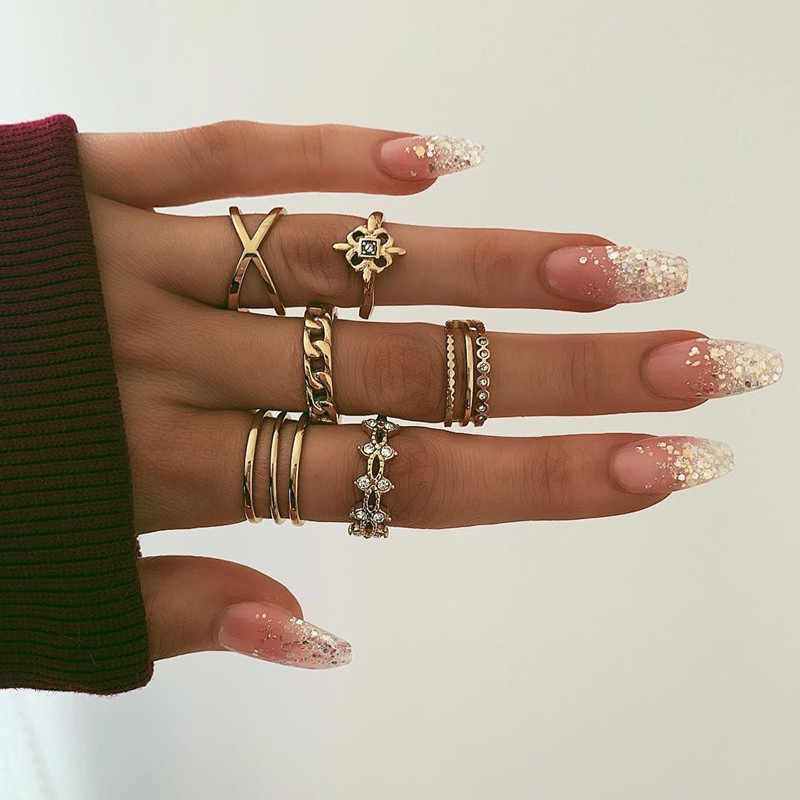 8Pcs/Set Boho Hollow  Carving Flower Rings Stackable Vintage Cross Chain Joint Knuckle Nail Mid gold Rings Set
