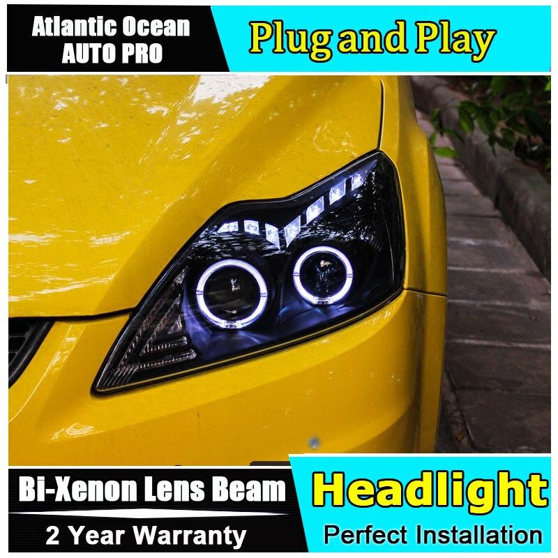 стайлинга автомобилей для Форд классический Фокус фары ангельские глазки на Фокус 2011-2014 би-ксенон, двойной объектив, спрятанный