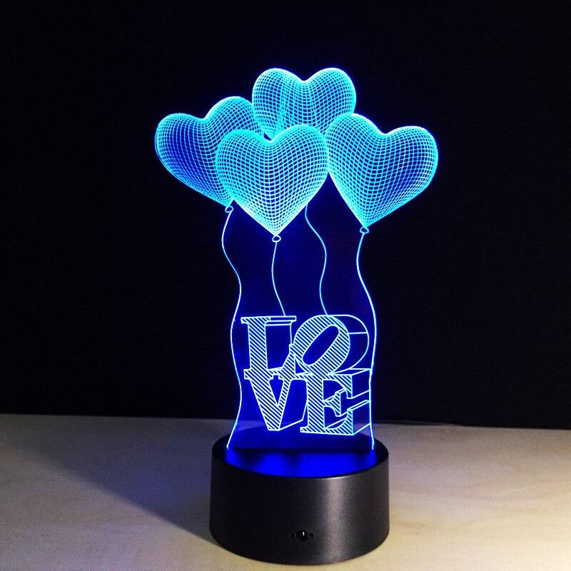 Love Heart Balloons Sensor LED 3D Night Light 3D Luminaria Lamp 7 Color Change Romantic Atmosphere Bedroom Party Decoration