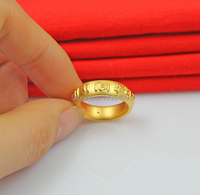 Authentic 999 Solid 24K Yellow Gold Ring Band Wedding Band US Size