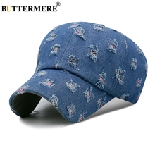 BUTTERMERE Denim Baseball Cap With Hole Mens Spring Washed Adjustable Fashion Dad Hats Casual Snapback Caps Male Blue Hat