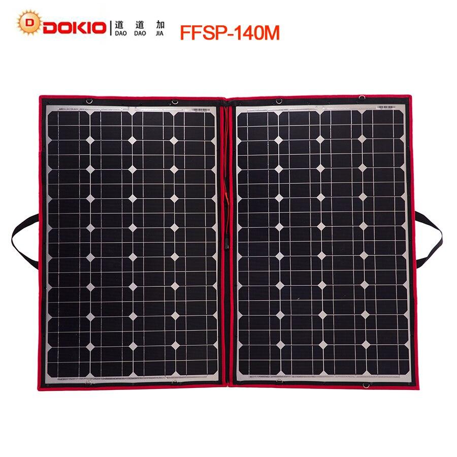 Clearance! Dokio 100W 140W (70Wx2pcs) 18V Flexible Foldable Solar Panels China + 12/24V Volt Controller 140 Watt Panels Solar