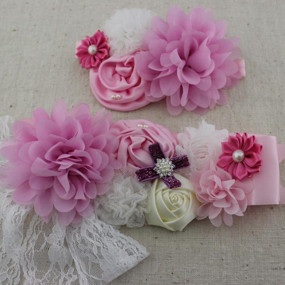 Rosa Mädchen Stirnbänder Spitze Chiffon Satin Blume Schärpe Gürtel Mit Perle Mathcing Haarband Frauen Braut Zubehör Kataloge Werden Auf Anfrage Verschickt