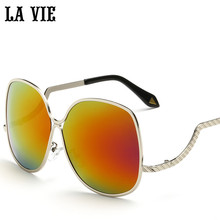 LA VIE Polarized Creative Design Women Sunglasses Alloy Frame Special Leg Cool Sun Glasses Colorful Lenses Oculos  LVA281