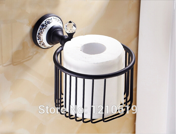 New US Free Shipping Ceramics Base Crystal Bathroom Toilet Roll Paper Basket Oil Rubbed Bronze Wall Mounted Tissue Shelf Holder