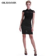 10ecf953606 OKAYOASIS 3 Color Retro Floral Black Lace Patchwork Pencil Dress Women  Party   Office See Thru