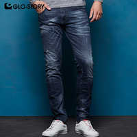 GLO-STORY European Size High Street 2018 Autumn Winter Men's Distressed Pleated Jeans Male Denim Pencil Pants MNK-7693