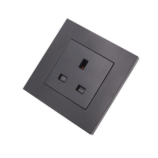 Black/ Gold UK Socket PC Panel UK Standard Wall Power Socket Wall Outlet 86*86mm