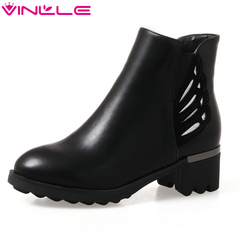 VINLLE 2018 Women Shoes Winter Ankle Boots Square Med Heel PU leather Round Toe Zipper Ladies Motorcycle Shoes Size 34-43 стоимость