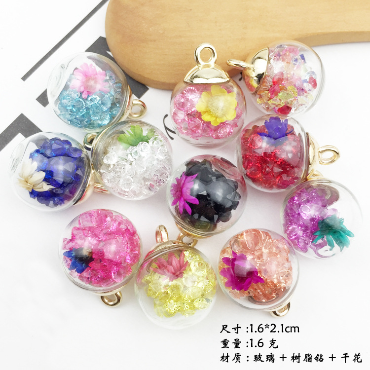 10pcs 16mm Transparent Clear Crystal Vial Glass Ball Charms With Dried Flower Glitter Beads Star Pendant Earring Jewelry Making