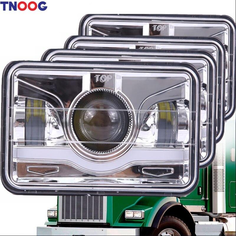 TNOOG 4pcs 4x6 Inch Square LED Headlights Sealed Beam H4651 H4652 H4656 H4666 H6545 HID Replacement 6000K Rectangular Light