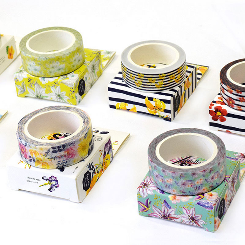 1 x Summer flowers series Kawaii Decorative adhesive tapes Paper washi tape 15 mm*7 m scrapbooking stationery school supplies