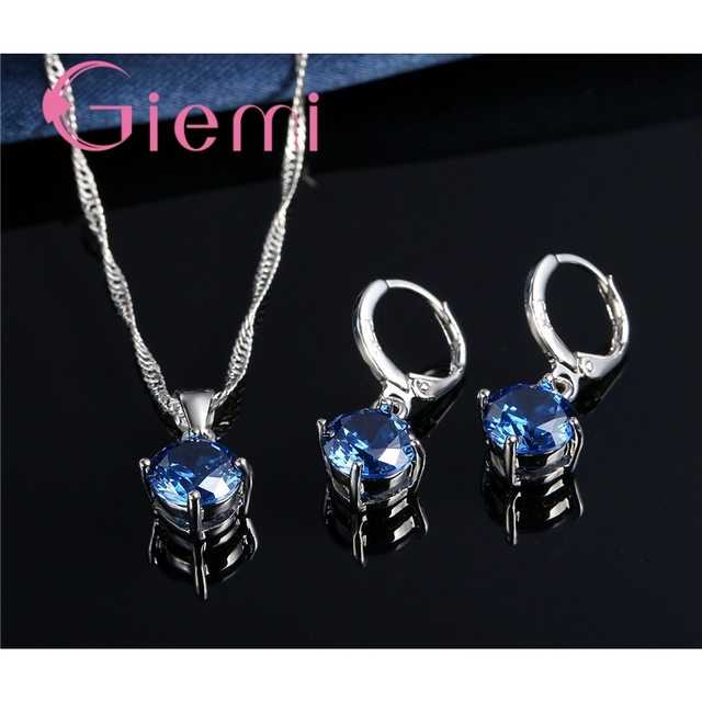 Giemi Hot Sale 8 Colors Crystal Pendant Necklace Earrings Set S90 Silver Color Elegant Jewelry Set Women Valentine Gifts 3