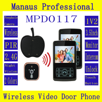Profession Intercom Wireless Systems for Home,Remote Unlock One to Two Video Digital Wireless Front Door Peephole Camera D117a