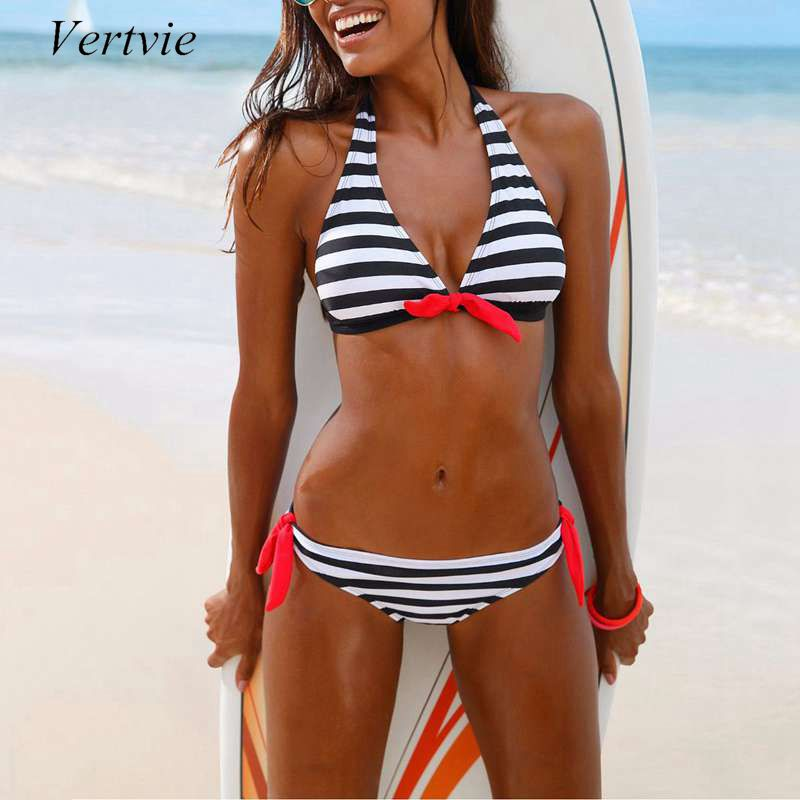 Vertvie 2017 New Striped Bikini Set Women Sexy Halter Bowknot Two Pieces Swimsuit Swimwear Female Beach Biquini Bathing Suit new sexy vs045 1 6 black and white striped sweather stockings shoes clothing set for 12 female bodys dolls
