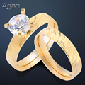 A&N Romantic Wedding Bridal Engagement Ring For Women Gold Plated Rhinestone Rings Simple Design Fashion Stainless Steel Rings