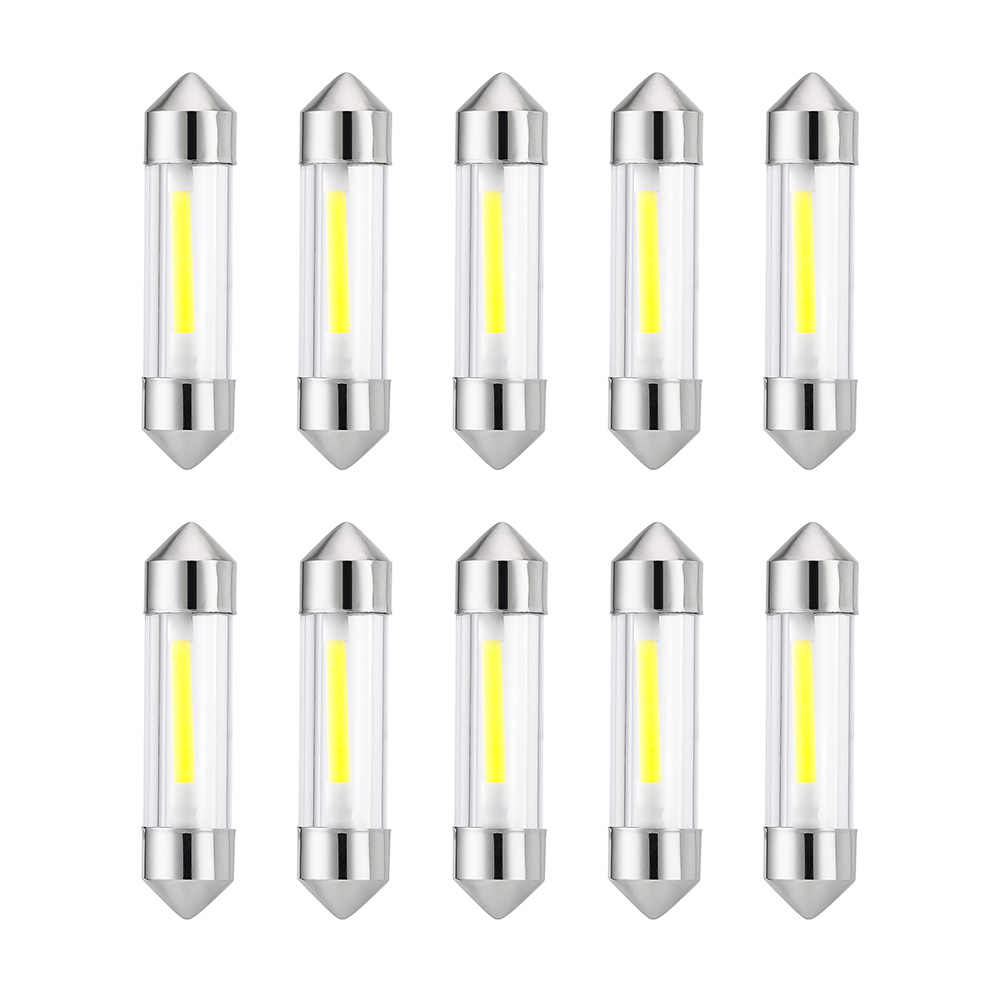10 Pieces C5W COB Car Led Bulbs Interior Festoon Dome Reading Light 41mm 39mm 36mm 31mm Source White Side License plate Lamp 12V