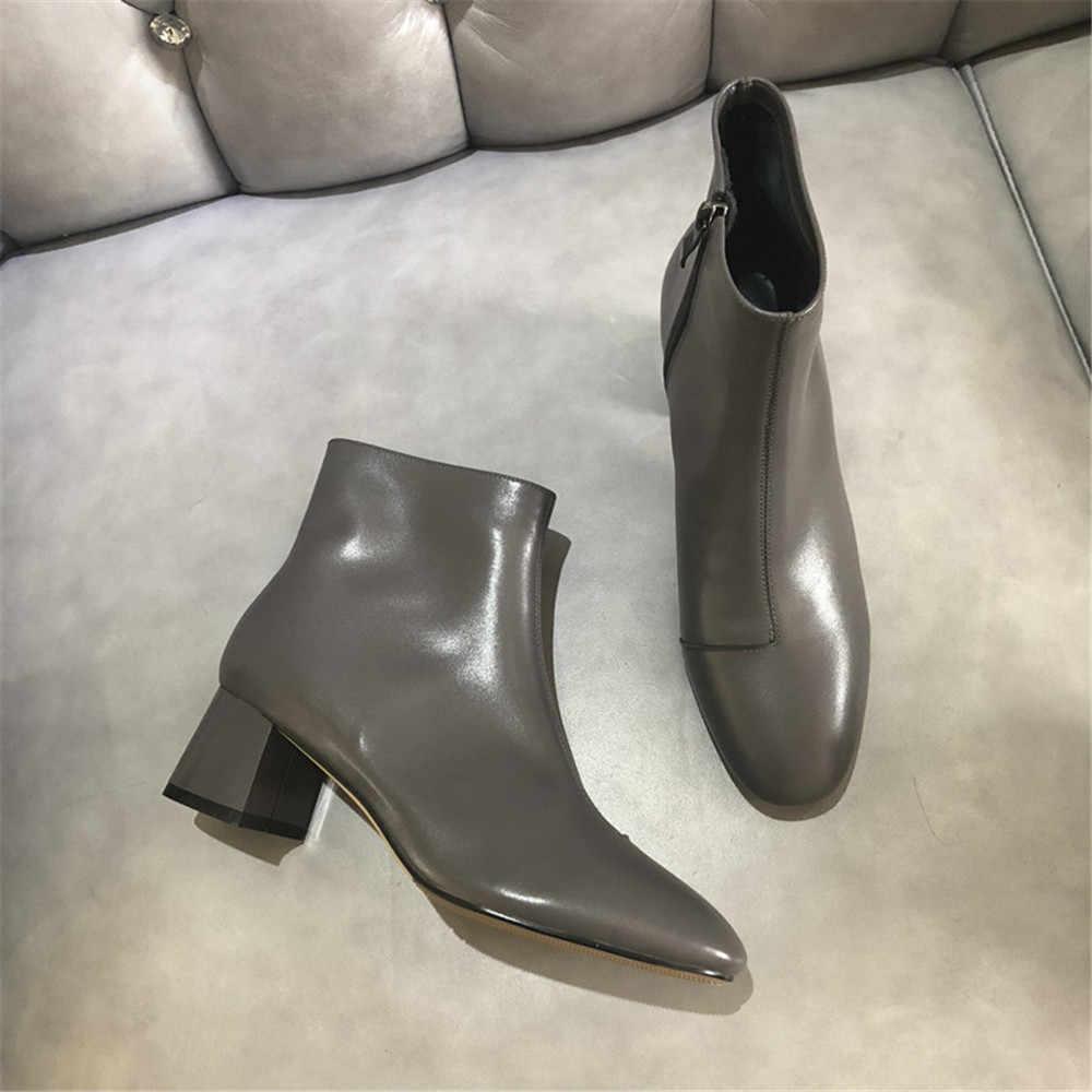 Chắc Chắn Mắt Cá Chân Giày Mũi Tròn 5 Cm Gót Giày Bốt Nữ Cao Gót Da Thật Chính Hãng Da Gợi Cảm Nữ Giày Plus Kích Thước XDD05 Muyisexi
