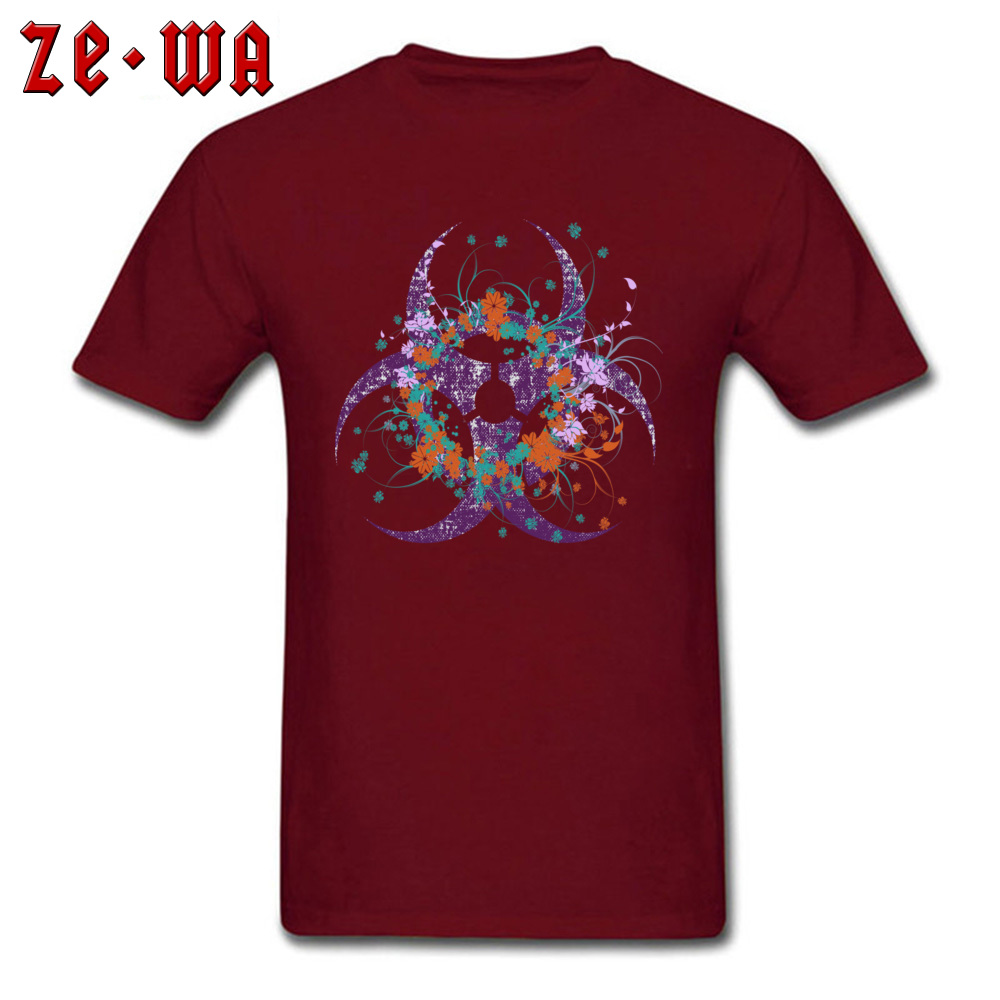 Normal Beautiful Biohazard Tops Shirt for Students 2018 Summer Round Neck Cotton Short Sleeve Top T-shirts 3D Printed T Shirt Beautiful Biohazard maroon