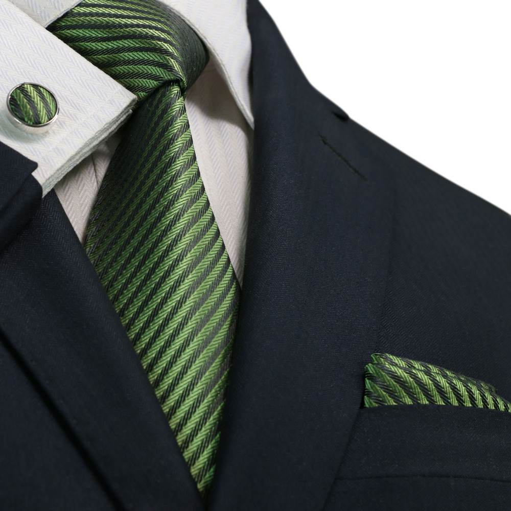 Landisun Fashion 1877t Army Green Grey Striped 100 Silk Neck Tie