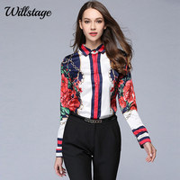 LADYBEES 2017 Autumn Women Shirts Long Sleeve Floral Star Printed Blouse Chiffon Tops Office Ladies OL