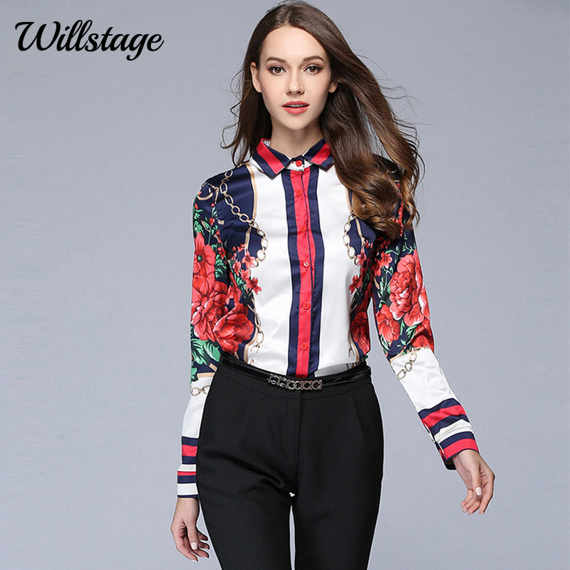 Willstage 2018 Spring Women Shirts Long Sleeve Floral Star Printed Blouse Chiffon Tops Office Ladies OL