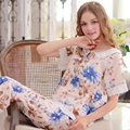 Flor azul Mulheres Pijamas Lace Manga Curta Em Torno Do Pescoço Conjunto de Pijama Calças Compridas Femininas Impresso Puro Algodão Sleepwear