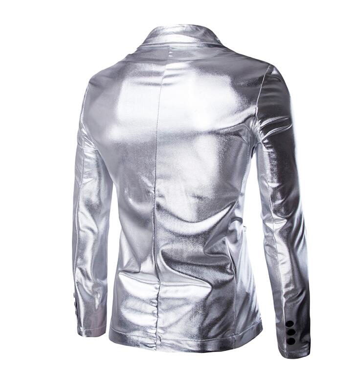 personality suits men blazer masculino slim casaco jaqueta masculina Hot stamping Glossy coats mens fashion jacket gold silver in Blazers from Men 39 s Clothing