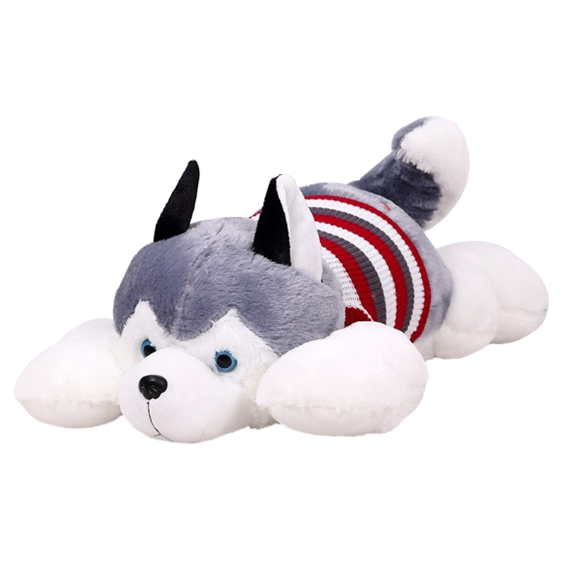 1pcs size 40 cm Cartoon gray sweater husky dog plush toy child cloth doll Large pillow cushion child Christmas birthday gift super cute plush toy dog doll as a christmas gift for children s home decoration 20