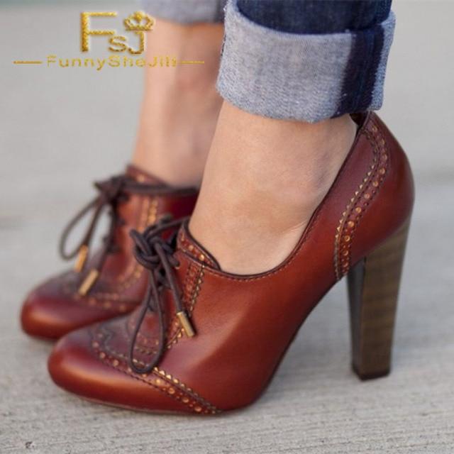 ae49e9ff5b4 Maroon Lace up Oxford Heels Vintage Shoes Chunky Heel Oxford Pumps Spring  Autumn Anniversary Women Shoes Fashion FSJ Elegant