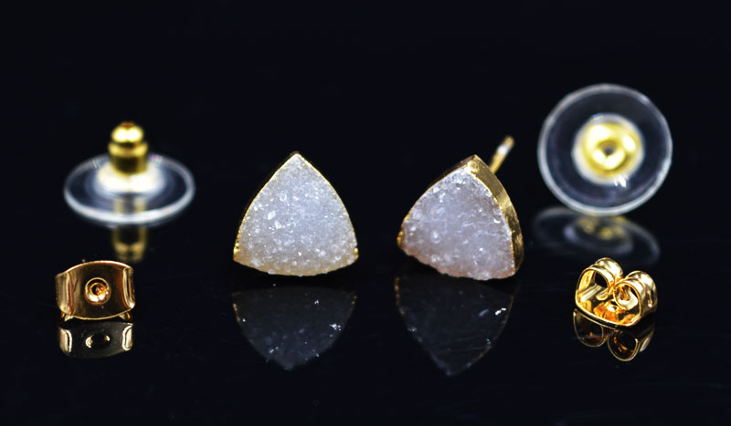 YA1789 Natural Color Druzy Stone Triangle Stud Earrings Two different stopper backs choose 8mm ,10mm